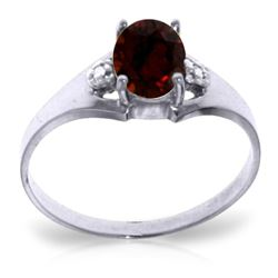 ALARRI 0.76 Carat 14K Solid White Gold Arms Of Integrity Garnet Diamond Ring