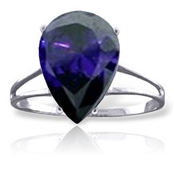 ALARRI 4.65 Carat 14K Solid White Gold Exclamation Mark Sapphire Ring