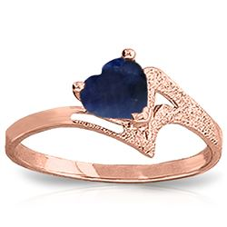 ALARRI 1 Carat 14K Solid Rose Gold Loveheart Sapphire Ring