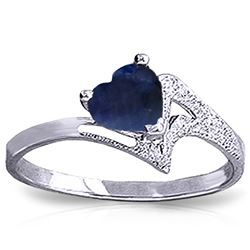ALARRI 1 Carat 14K Solid White Gold Not An Explanation Sapphire Ring