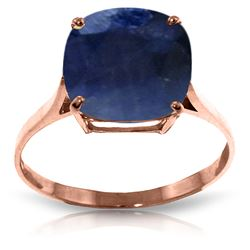 ALARRI 4.83 Carat 14K Solid Rose Gold Ring Natural Cushion Sapphire