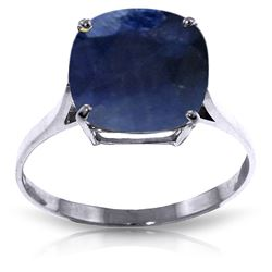 ALARRI 4.83 CTW 14K Solid White Gold Ring Natural Cushion Sapphire