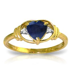 ALARRI 1.01 CTW 14K Solid Gold Hope Feathers Sapphire Diamond Ring