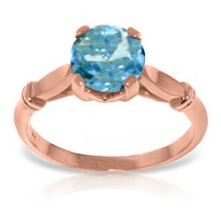 ALARRI 14K Solid Rose Gold Solitaire Ring w/ Blue Topaz