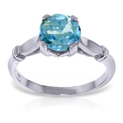 ALARRI 1.15 CTW 14K Solid White Gold Solitaire Ring Blue Topaz