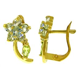 ALARRI 1.72 CTW 14K Solid Gold Flora Aquamarine Peridot Clip Earrings