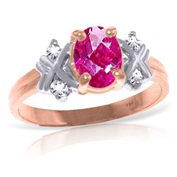 ALARRI 0.97 Carat 14K Solid Rose Gold Xo Pink Topaz Diamond Ring