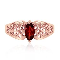 ALARRI 0.2 Carat 14K Solid Rose Gold Filigree Ring Natural Garnet