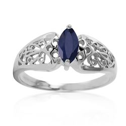 ALARRI 0.2 CTW 14K Solid White Gold Intensely Exact Sapphire Ring