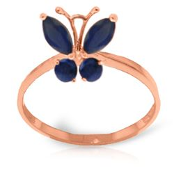 ALARRI 0.6 CTW 14K Solid Rose Gold Butterfly Ring Natural Sapphire