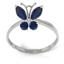 ALARRI 0.6 CTW 14K Solid White Gold Butterfly Ring Natural Sapphire