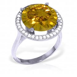 ALARRI 6.2 Carat 14K Solid White Gold Conjure Up Citrine Diamond Ring