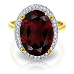 ALARRI 6.18 Carat 14K Solid Gold The Color Red Garnet Diamond Ring