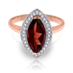 ALARRI 2.15 Carat 14K Solid Rose Gold Ring Diamond Marquis Garnet