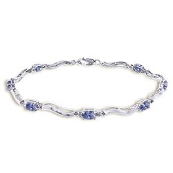 ALARRI 2.01 CTW 14K Solid White Gold Tennis Bracelet Diamond Tanzanite