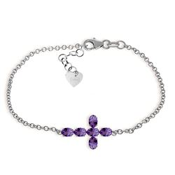 ALARRI 1.7 Carat 14K Solid White Gold Cross Bracelet Natural Amethyst