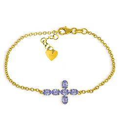 ALARRI 1.7 CTW 14K Solid Gold Cross Bracelet Natural Tanzanite