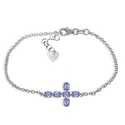 ALARRI 1.7 CTW 14K Solid White Gold Cross Bracelet Natural Tanzanite