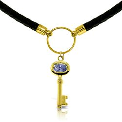 ALARRI 0.5 Carat 14K Solid Gold Leather Key Necklace Tanzanite