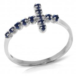 ALARRI 0.3 CTW 14K Solid White Gold Cross Ring Natural Sapphire
