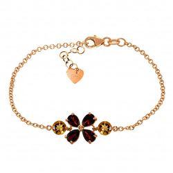 1.55 Carat 14K Solid Rose Gold Bracelet Natural Garnet
