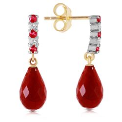 ALARRI 6.9 CTW 14K Solid Gold Diamond Ruby Earrings Dangling Briolette Ruby