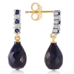 ALARRI 6.9 CTW 14K Solid Gold Diamond Sapphire Earrings Dangling Briolet
