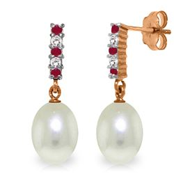ALARRI 8.3 Carat 14K Solid Rose Gold Diamond Ruby Earrings Dangling Briolette Pearl