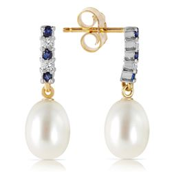 ALARRI 8.3 CTW 14K Solid Gold Diamond Sapphire Earrings Dangling Briolet