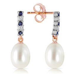 ALARRI 8.3 Carat 14K Solid Rose Gold Diamond Sapphire Earrings Dangling Briolette Pear