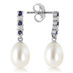 ALARRI 8.3 CTW 14K Solid White Gold Diamond Sapphire Earrings Dangling Briolet