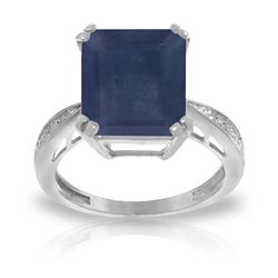 ALARRI 7.27 CTW 14K Solid White Gold Ring Natural Diamond Sapphire