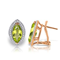 ALARRI 4.3 CTW 14K Solid Rose Gold French Clips Earrings Diamond Peridot