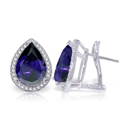 ALARRI 10.52 CTW 14K Solid White Gold French Clips Earrings Diamond Sapphire