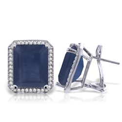 ALARRI 13.2 Carat 14K Solid White Gold French Clips Earrings Diamond Sapphire