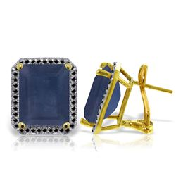 ALARRI 14K Solid Gold Stud French Clips Earrings w/ Black Diamonds & Sapphires
