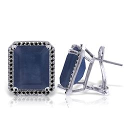 ALARRI 14K Solid White Gold Stud French Clips Earrings w/ Black Diamonds & Sapphires