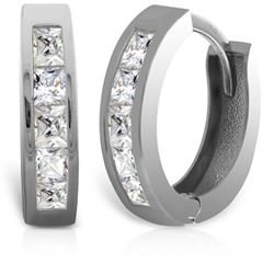 ALARRI 14K Solid White Gold Hoop Huggie Earrings w/ Princess Cut Diamonds