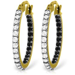 ALARRI 14K Solid Gold Hoop Earrings w/ Natural Black & White Diamonds