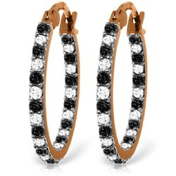 ALARRI 14K Solid Rose Gold Hoop Earrings w/ Natural Black & White Diamonds