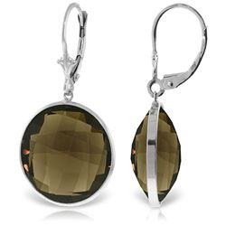 ALARRI 14K Solid White Gold Leverback Earrings w/ Checkerboard Cut Round Smoky Quartz