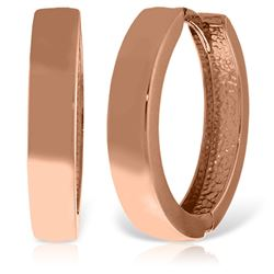 ALARRI 14K Solid Rose Gold 19.00 mm Diameter Hoop Huggie Earrings