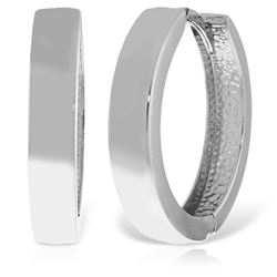 ALARRI 14K Solid White Gold 19.00 mm Diameter Hoop Huggie Earrings