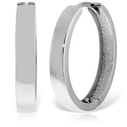 ALARRI 14K Solid White Gold 23.50 mm Diameter Hoop Huggie Earrings