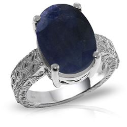 ALARRI 14K Solid White Gold Ring w/ Natural Oval Sapphire