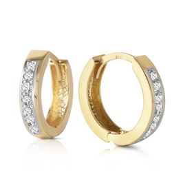 ALARRI 14K Solid Gold Hoop Huggie Earrings w/ Diamonds