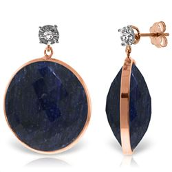ALARRI 14K Solid Rose Gold Diamonds Stud Earrings w/ Dangling Checkerboard Cut Sapphires