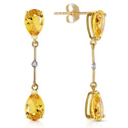 ALARRI 14K Solid Gold Diamonds & Citrines Dangling Earrings