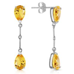 ALARRI 14K Solid White Gold Diamonds & Citrines Dangling Earrings