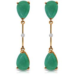 ALARRI 14K Solid Rose Gold Diamonds & Emeralds Dangling Earrings